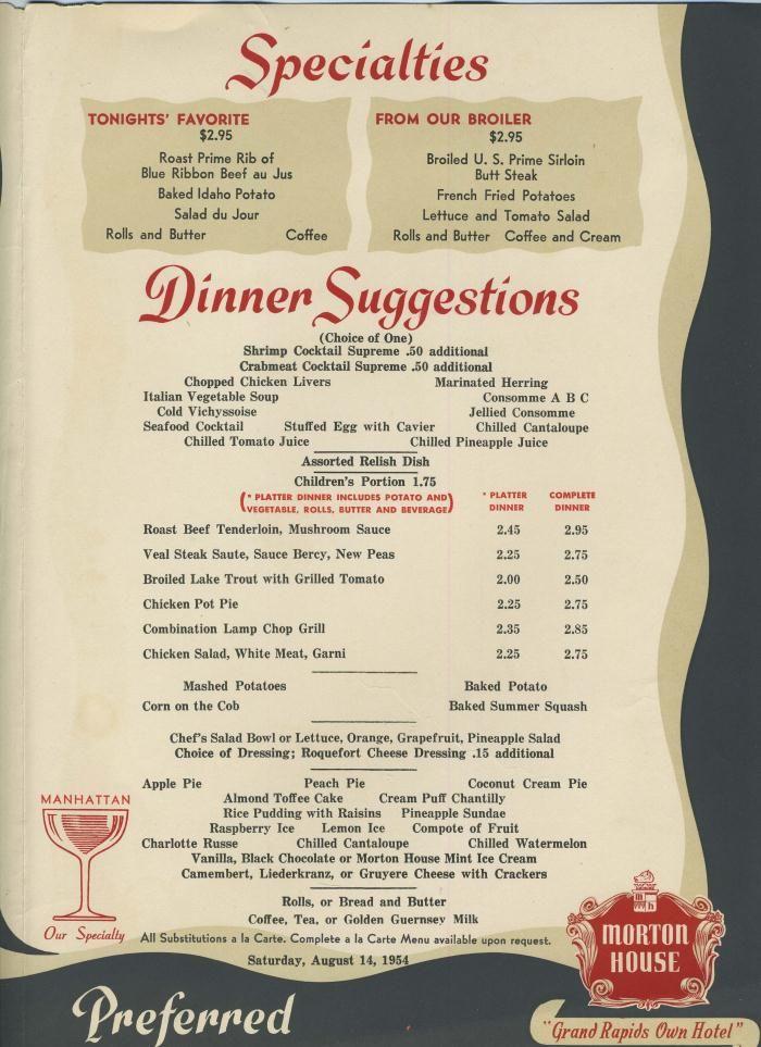 Morton House Dinner Menu Aug 14 1954 Vintage Recipes Vintage Menu Vintage Restaurant