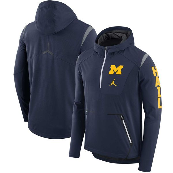 Nike Michigan Wolverines Navy Alpha Fly Rush Sideline Half-Zip ...