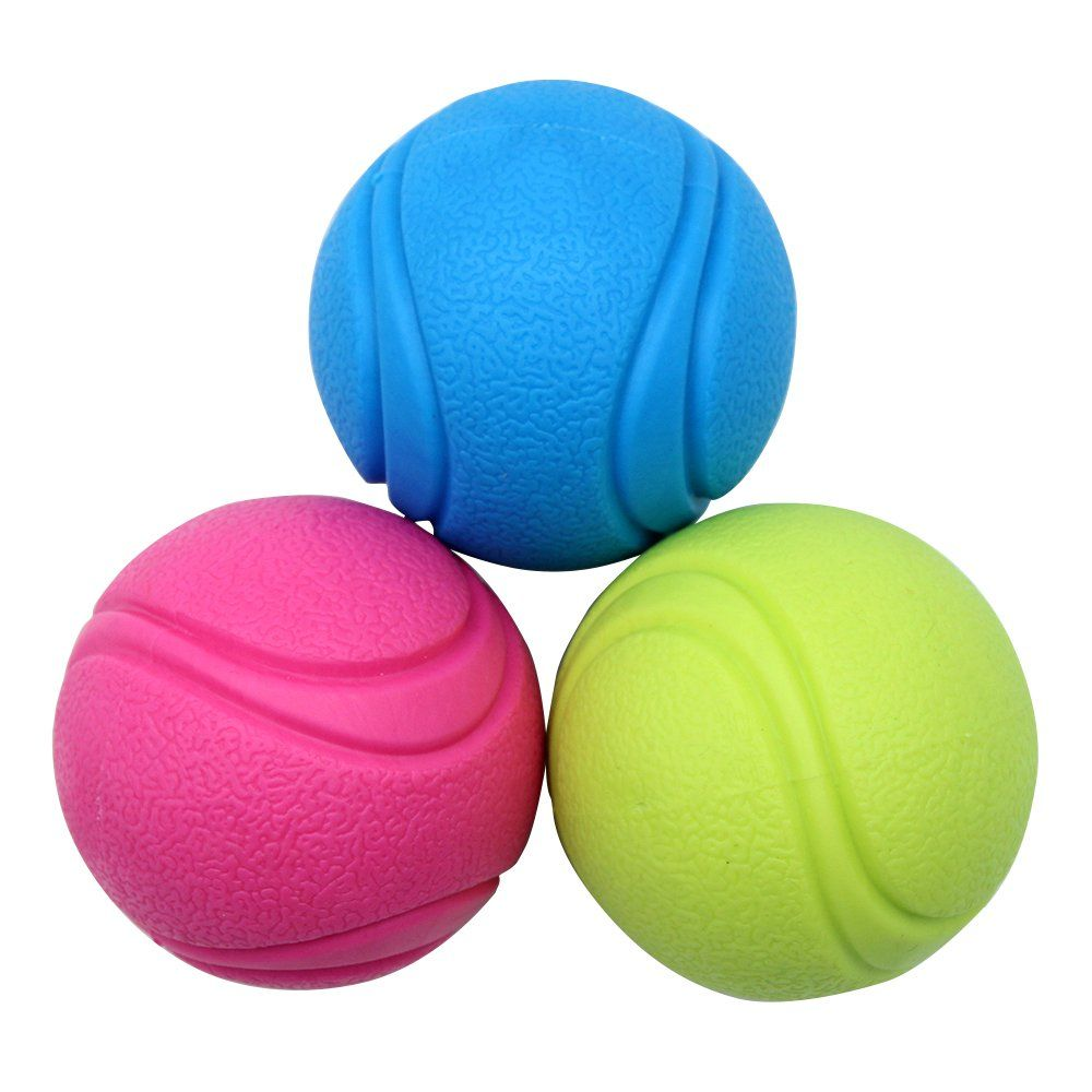 Small Dog Toys Mihachi Rubber Dog Ball 3 Pack Dog Toy Balls