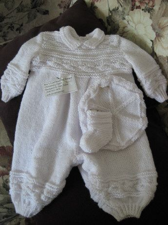 Knitting Pattern Baby Boy Christening : Boys Christening Romper free pattern written in simple ...