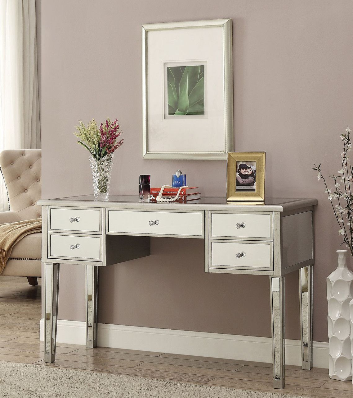 EFurnitureHouse.com   Zarina Antique Silver Mirrored Vanity Table, $649.00  (http