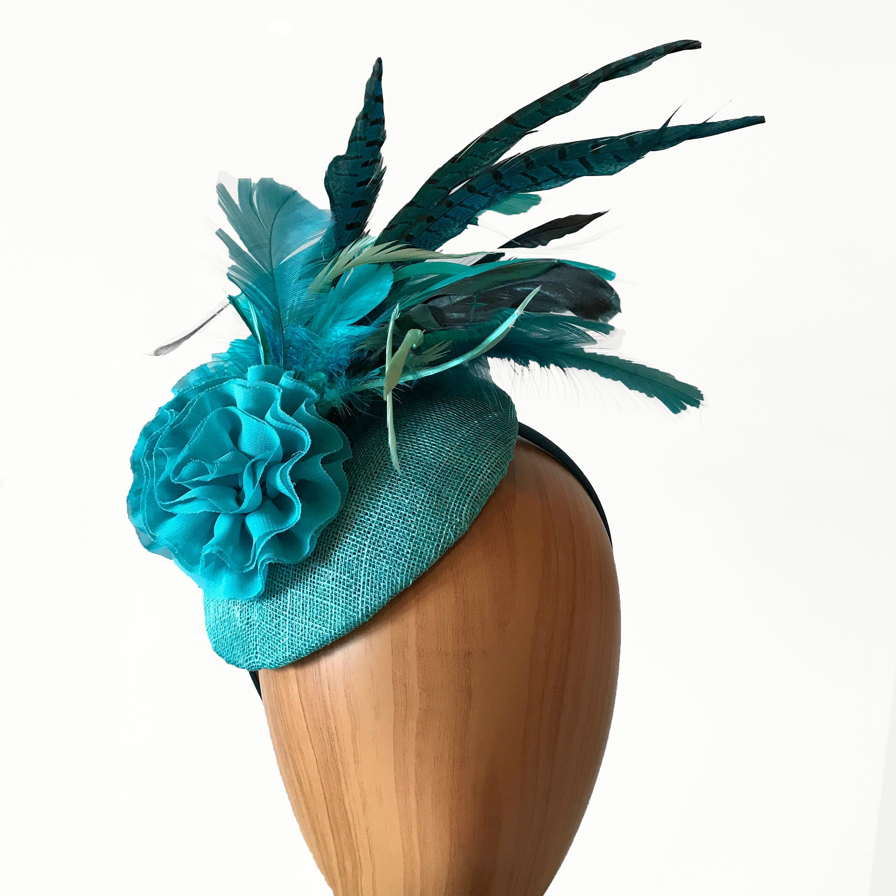 2f29782777e41 Small Turquoise and Teal button fascinator with a multitude of feathers