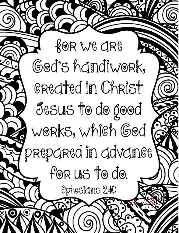 Zen Tangle Fun Ephesians 2 10 Adult Coloring Page For We Are Gods