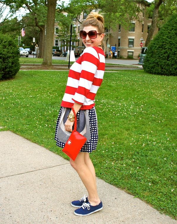 red white and blue, stripes, polka dots