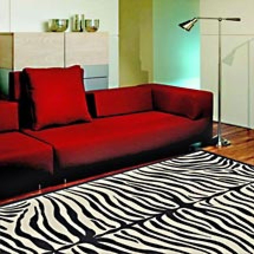 Interior Hot Combination Of Red Sofa Set And Black And White Zebra