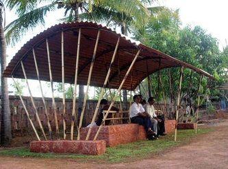 Railway Platform Shelter-Bamboo Works::Spatial & Interior Designers, Wildflowers, Vijayawada, India - Wildflowers Spatial & Interior Designers