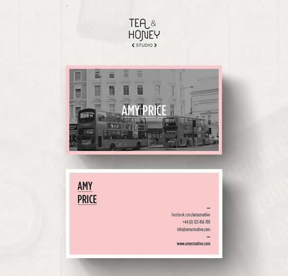 Customizable Business Card Template Calling By TeaAndHoneyStudio I Like How The Black And White Image Works Well With Pink Background