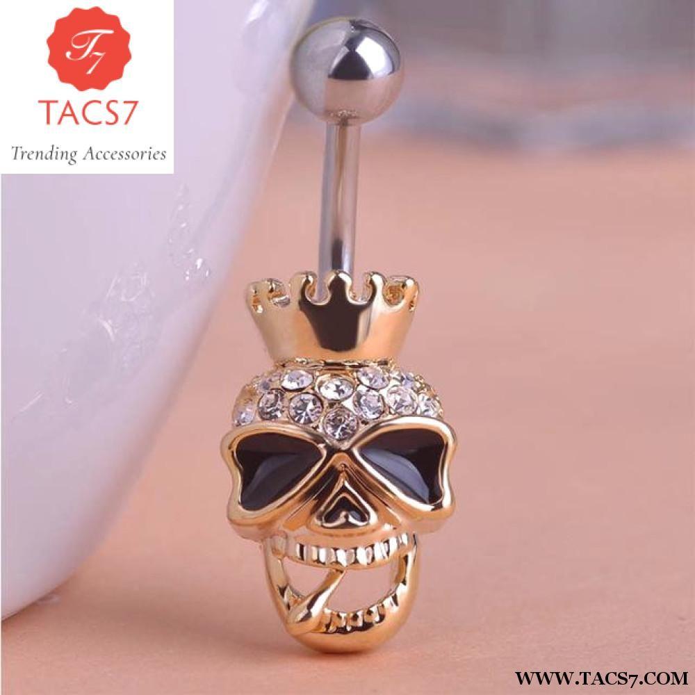 Belly button piercing names  Piercing Shop Brand Black Enamel Skull Skeleton Body Jewelry