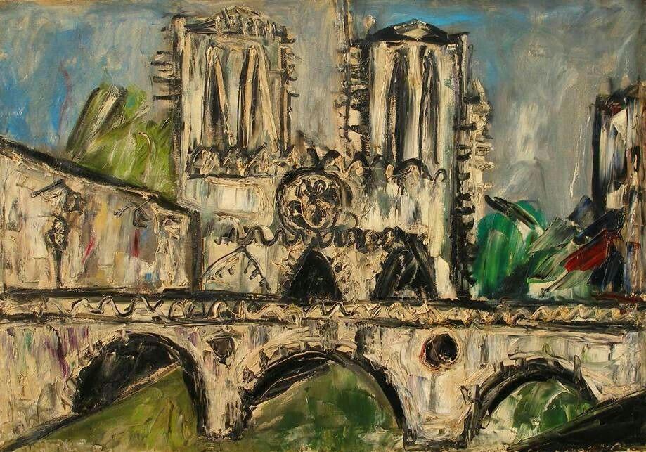 Gustavo Boldrini (Italian, 1927-1987), Parigi, Notre-Dame, 1950s. Oil on canvas, 70 x 100 cm