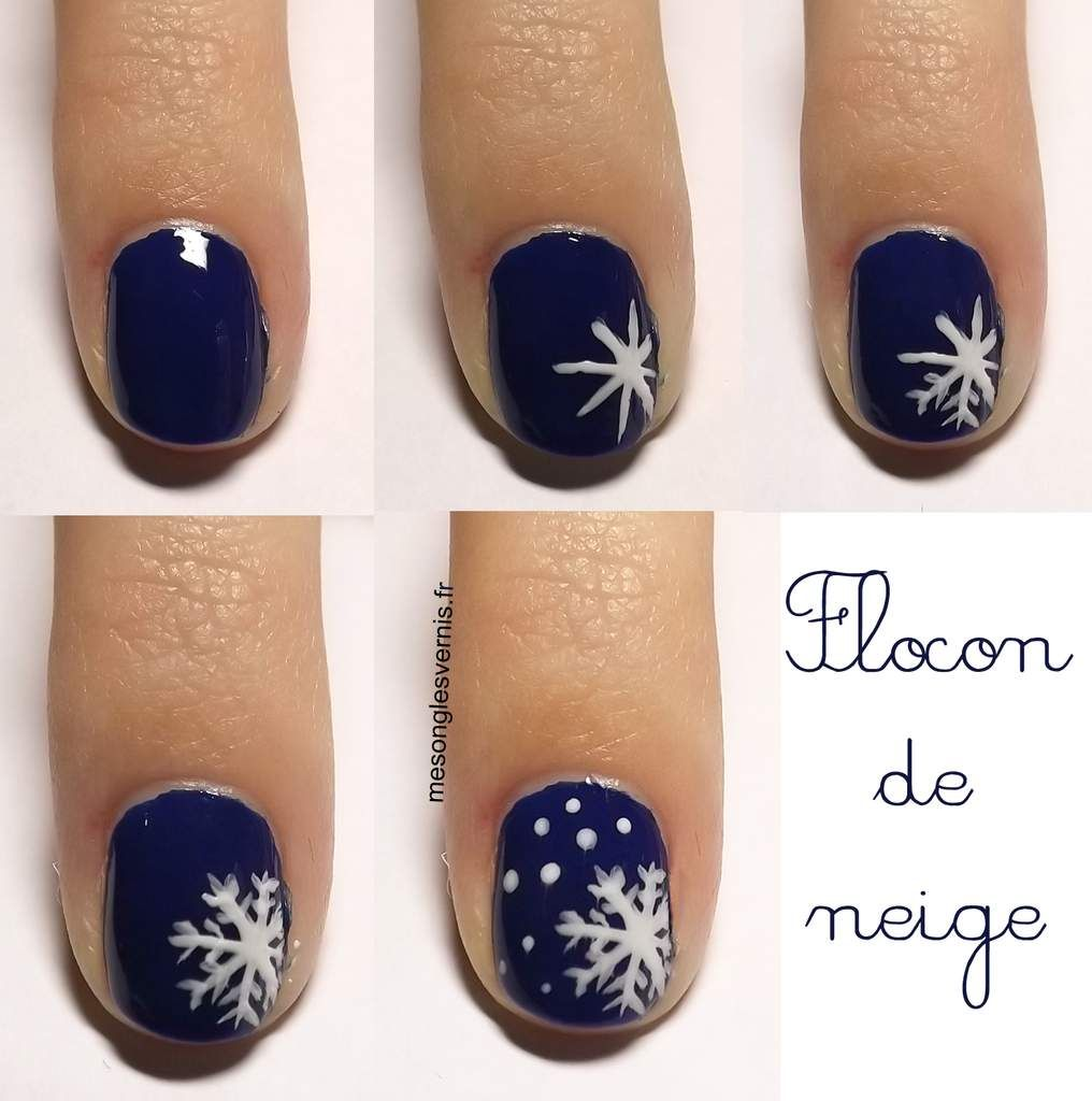 nail art noel flocon