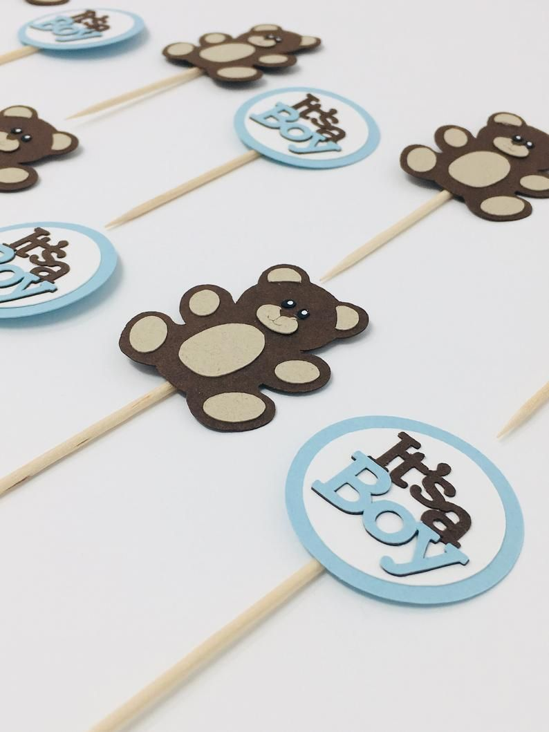 its a boy set of 12 Teddy Bear Birthday party decoration Baby Shower TEDDY BEAR Cupcake toppers