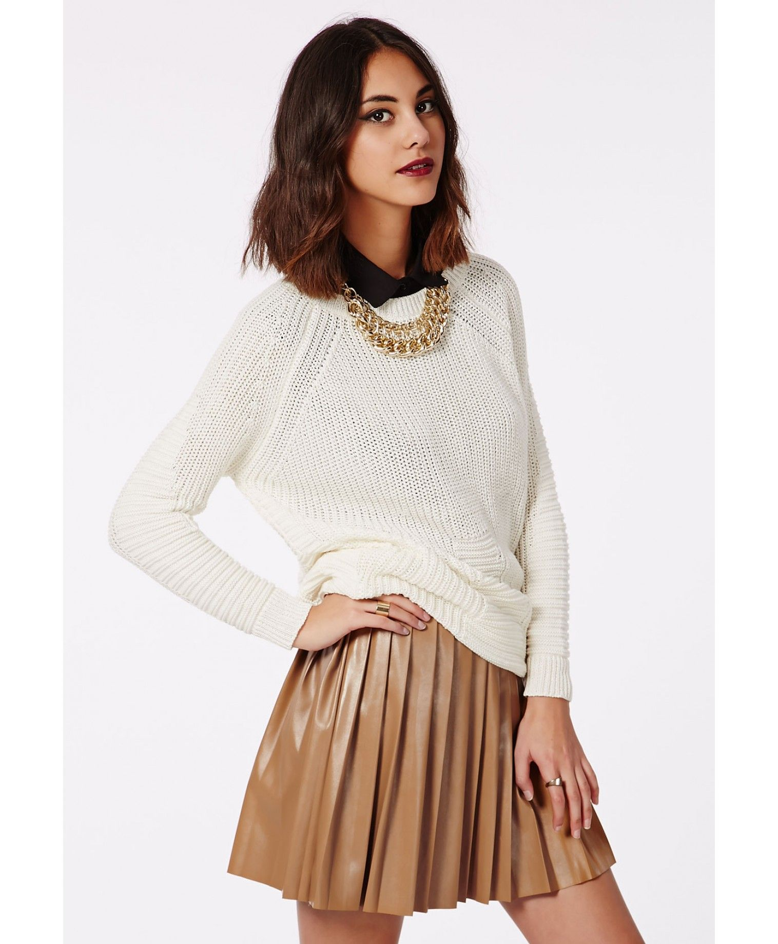 d47aa59a8 Livia Faux Leather Pleated Skater Skirt Camel - Skirts - Missguided ...