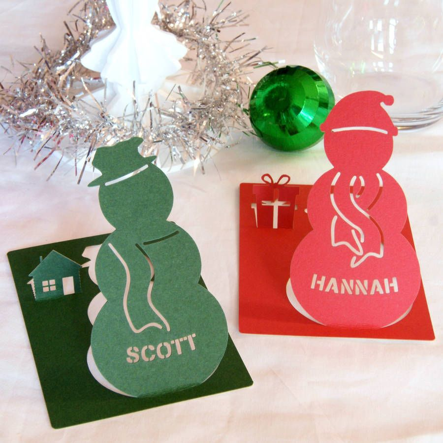 Personalised Christmas Snowman Name Place Cards