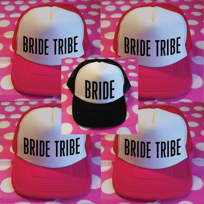 a1245ae06c2 Set of 5 Bachelorette Party Hats. Bride Tribe Trucker Hats. Bride Hat.  Custom Trucker Caps. Hen Party Hats. Wedding Party Trucker Hats. by  SoPinkUK on Etsy