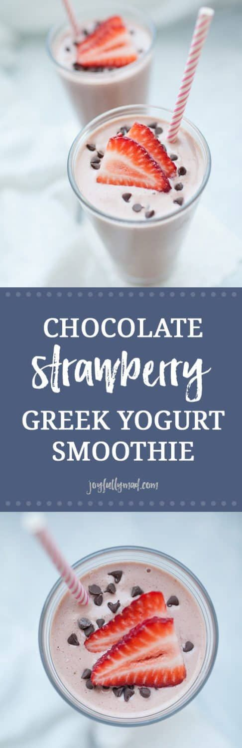 Chocolate Strawberry Greek Yogurt Smoothie #chocolatestrawberrysmoothie
