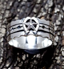 Horseshoe Star Sterling Silver Mens Ring. Sterling silver mens ring band width 11 mm.