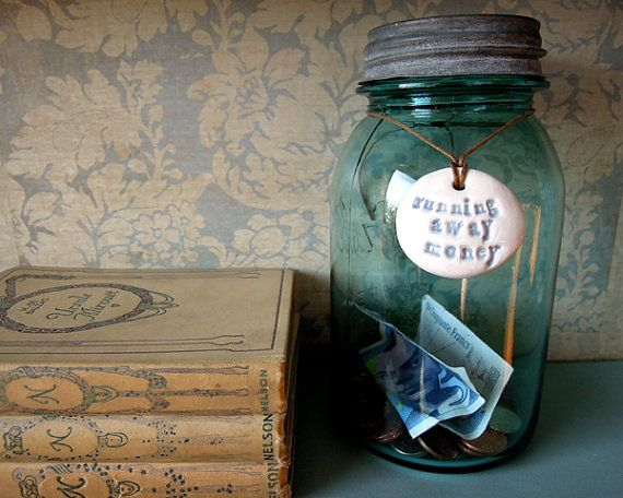 Running away money. Ceramic label for jar by RosiesArmoire on Etsy, $6.00