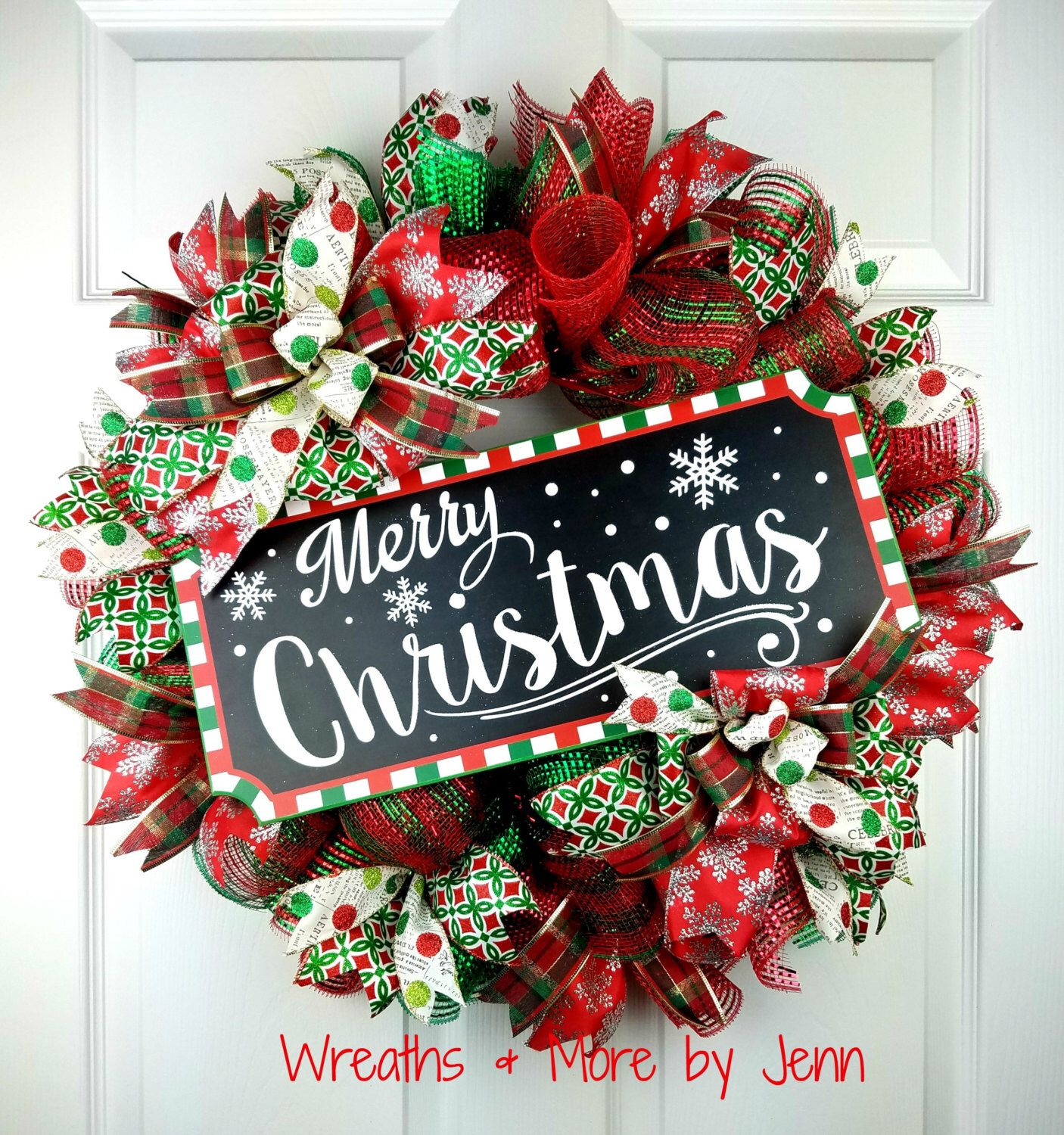 Christmas Deco Mesh Wreath Merry Christmas Wreath Holiday Wreath