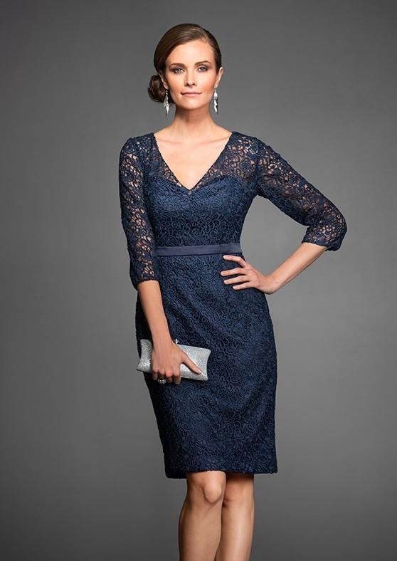Fun and flirty sequin mother of the bride dress with floral lace pattern, v-
