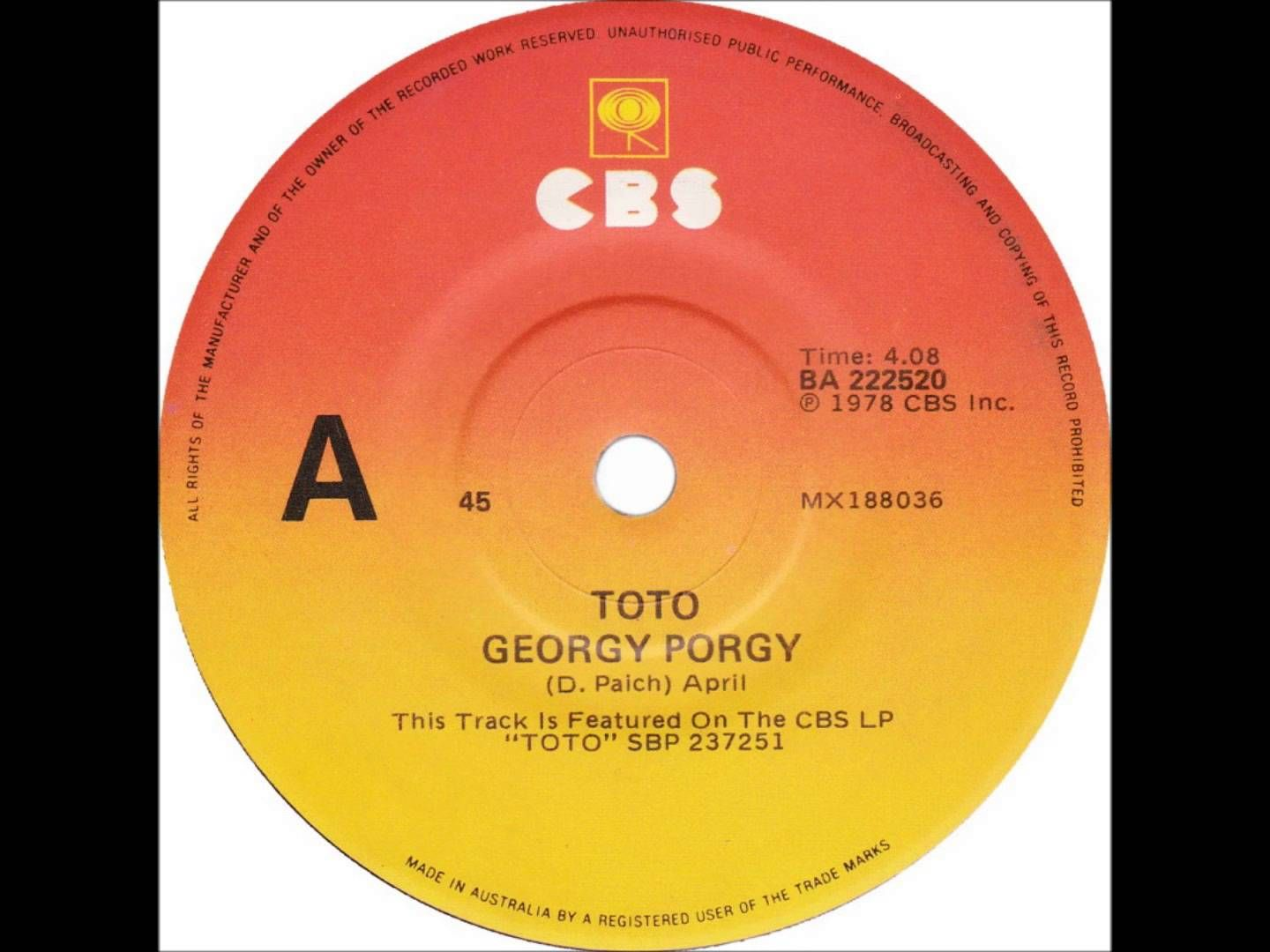 Toto - Georgy Porgy (Dj \
