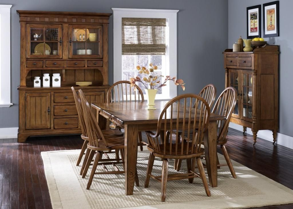 treasures formal 7 piece rectangular leg dining table set with bow back chairs in rustic oak - Rustic Dining Set