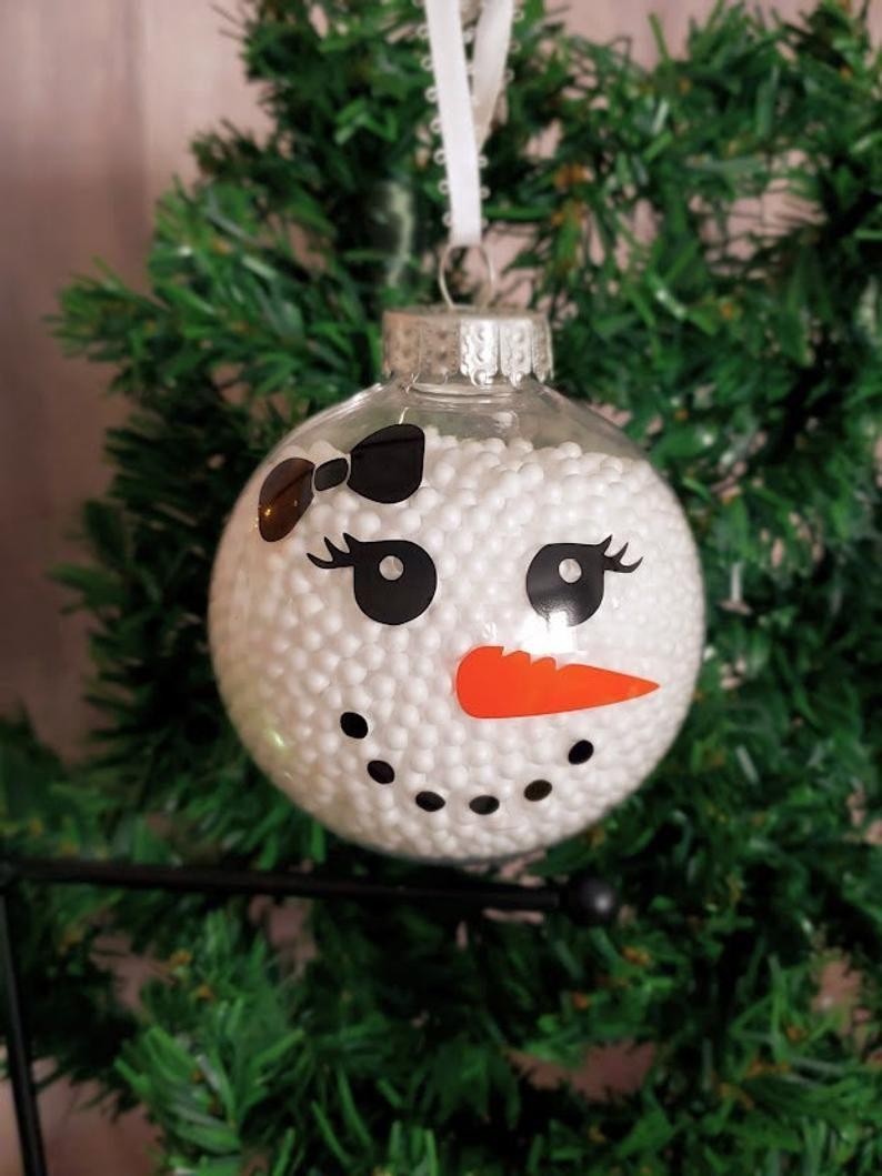 Ornements De Bonhomme De Neige Ornement De Fille De Neige Etsy Homemade Christmas Ornaments Diy Kids Christmas Ornaments Christmas Ornaments Homemade