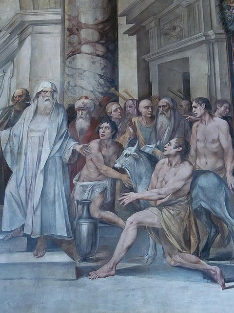 Detail from the fresco Numa Pompilius institutes the cult of the Vestals by Cavalier d'Arpino (1636-1640) CE in the Hall of the Horatii and Curiatti
