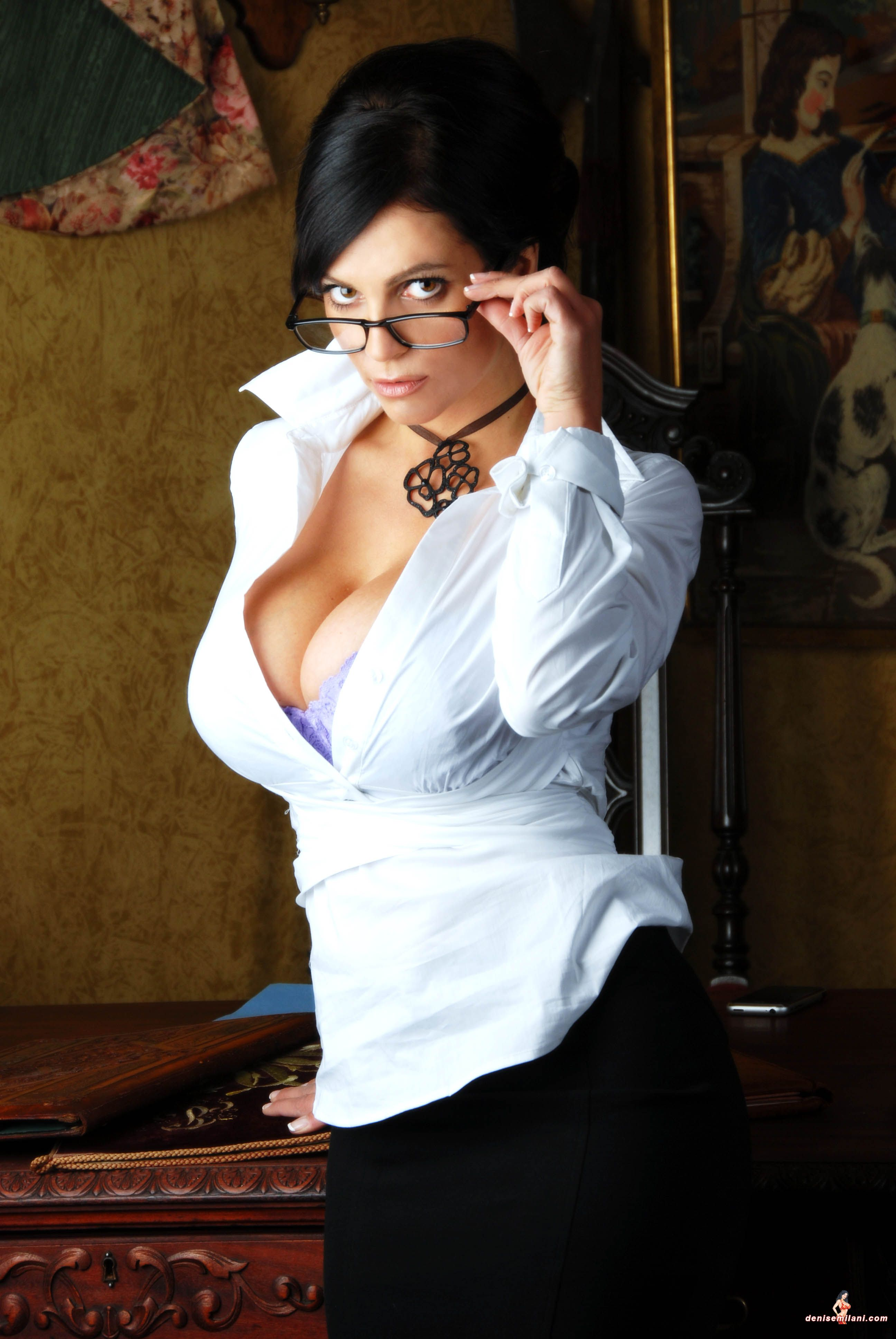Denise Milani preview of her set Secretary | cleavage ...
