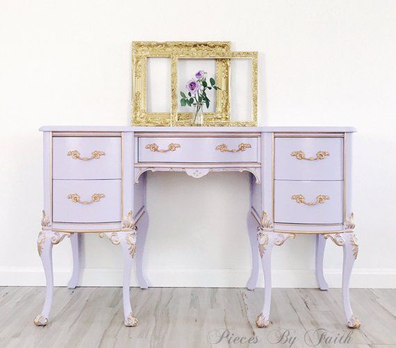 Brinkman Tv Meubel.Sold Custom Finish Available Lavender Gold Vanity Desk