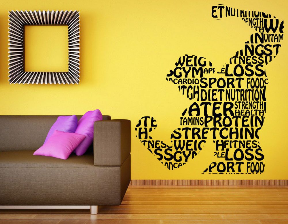 Fitness Gym Wall Decal Vinyl Sticker Sport Athletics Home Art Decor ...