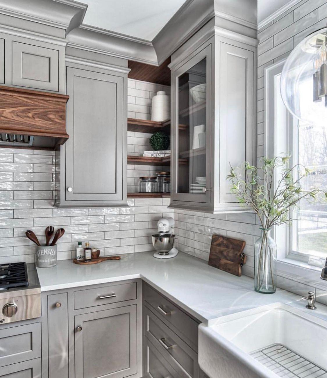 Grey Cabinets And Corner Shelving Grey Kitchen Designs Kitchen Cabinet Design Kitchen Interior