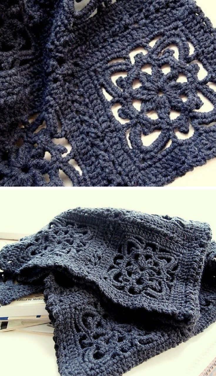 Free Crochet Pattern] Beautiful lacy square that you can crochet ...