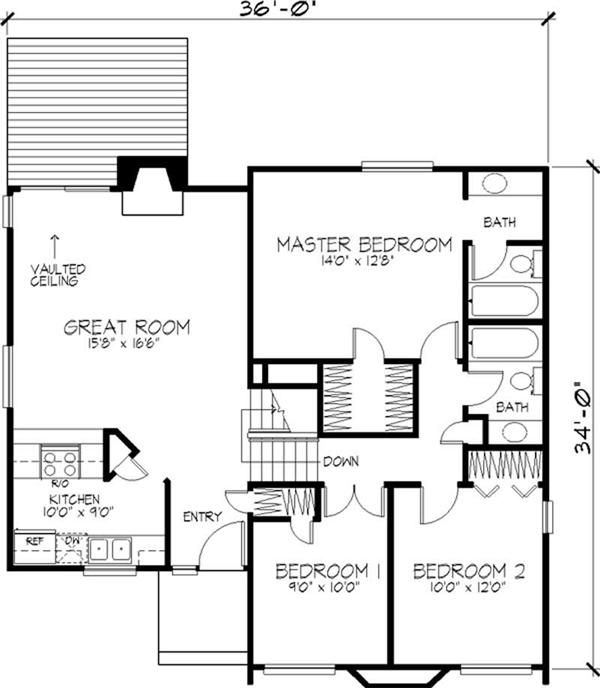 Cape cod contemporary home with 2 bedrooms 1496 sq ft for Free thai house plans