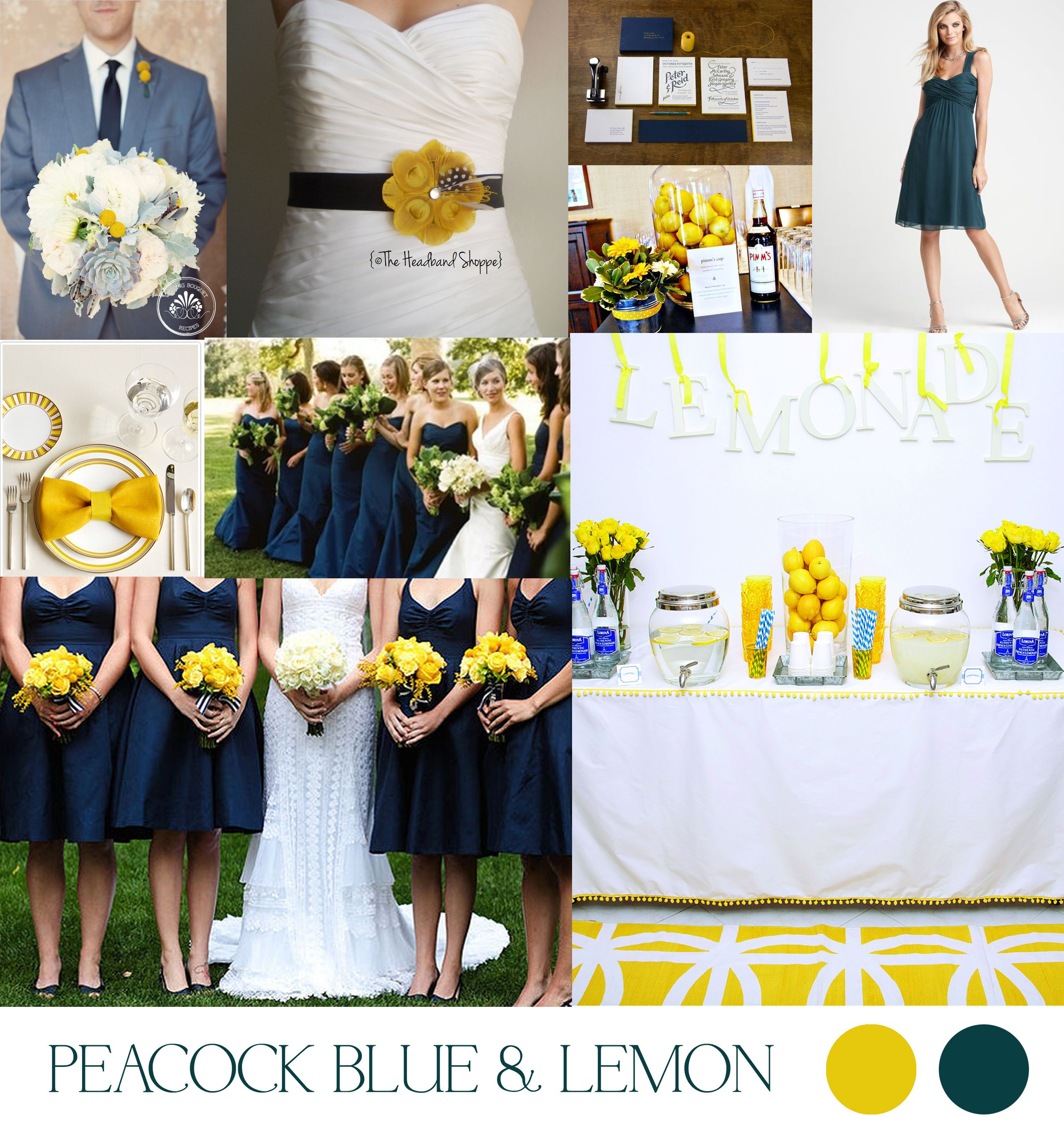 peacock blue and lemon wedding color palette