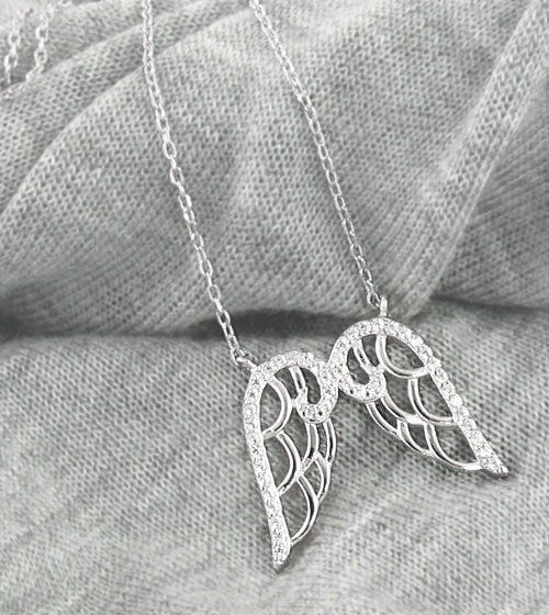 Pair of Angel Wings Necklace in Sterling Silver - woot & hammy