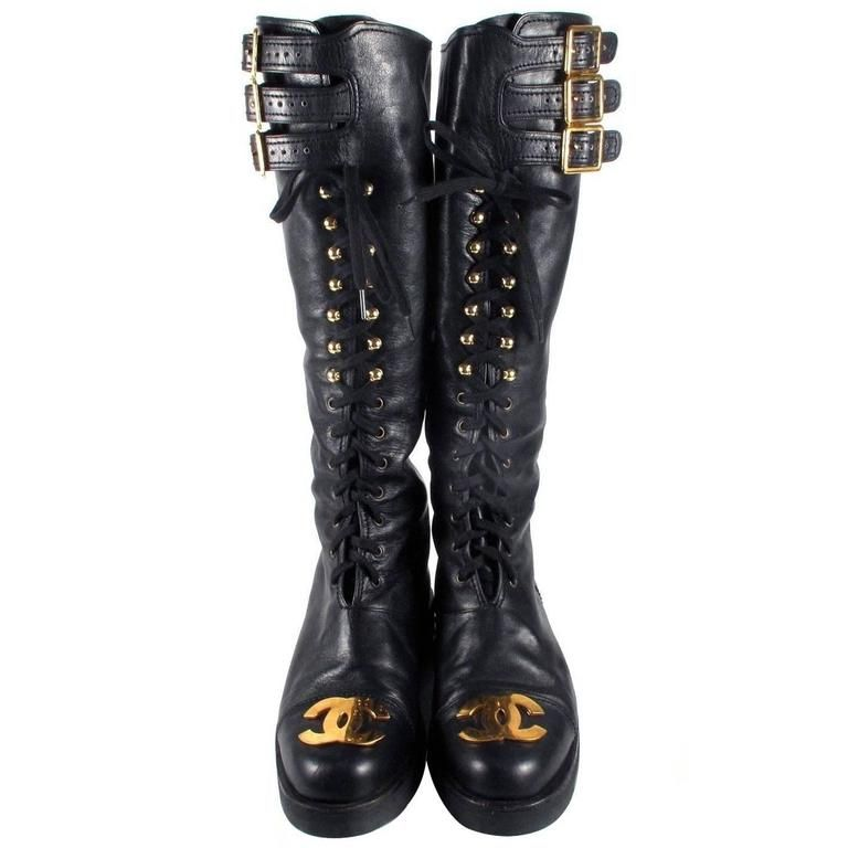 83a16b8e460 Chanel Boots 8/38 Tall Combat Vintage Black Leather CC Gold Lace Up ...