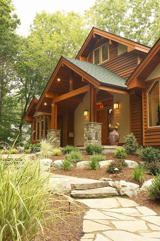 Exterior Stone Stucco With Cedar Accents Mountain Home Exterior Stucco Homes House In The Woods