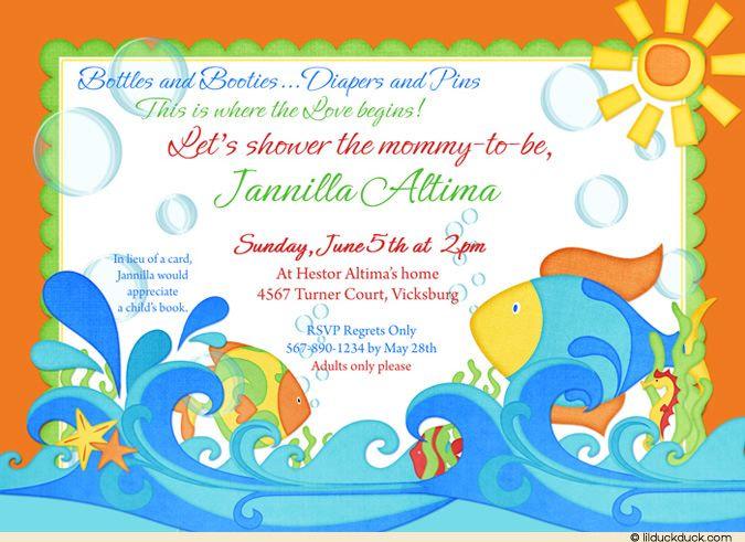 Fishing Baby Shower Ideas | Orange Fishies Baby Shower Invitation