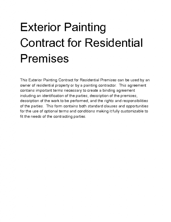 what you know about residential painting contract and what