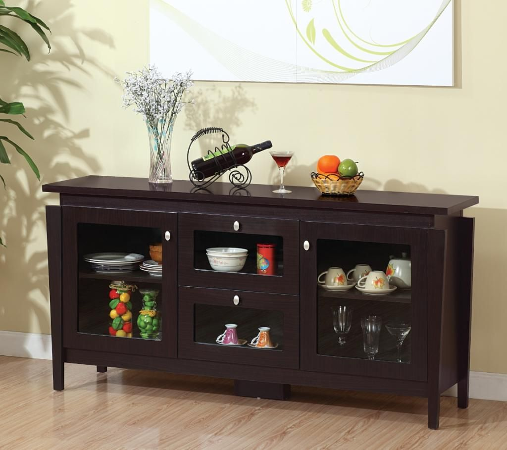 Contemporary buffet table furniture - Amazon Com Furniture Of America Cedric Modern Buffet Espresso Buffets Sideboards