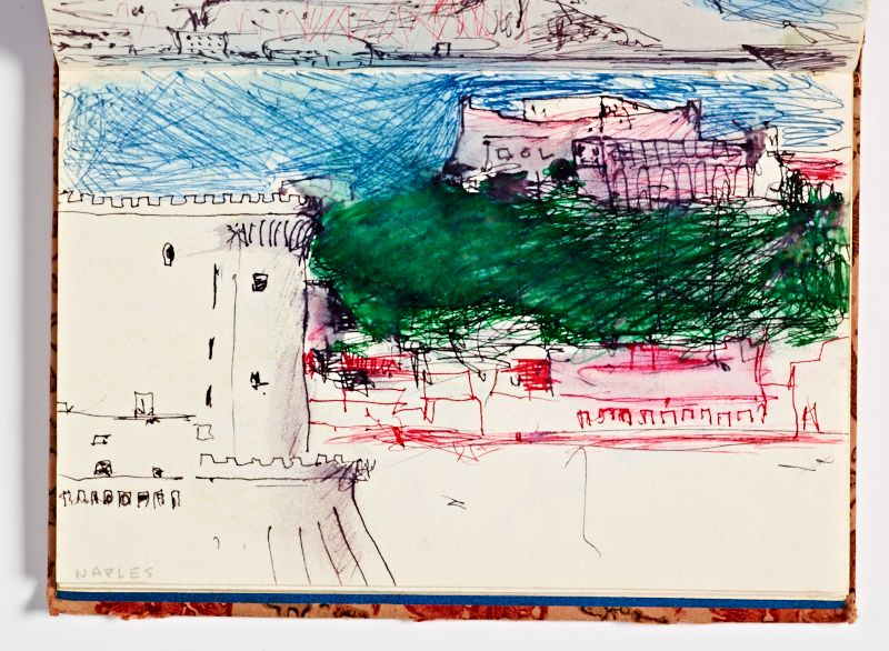 Diebenkorn, Ink wash with pen and ink Page 23 from Sketchbook # 04 [landscape of Naples with blue sky and green shading]