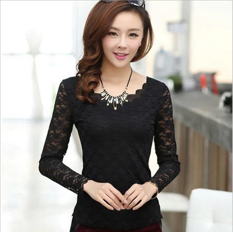 Summer Women Fashion Lace Tops V Neck Blouse Lady Casual Mesh Long Sleeve Shirt