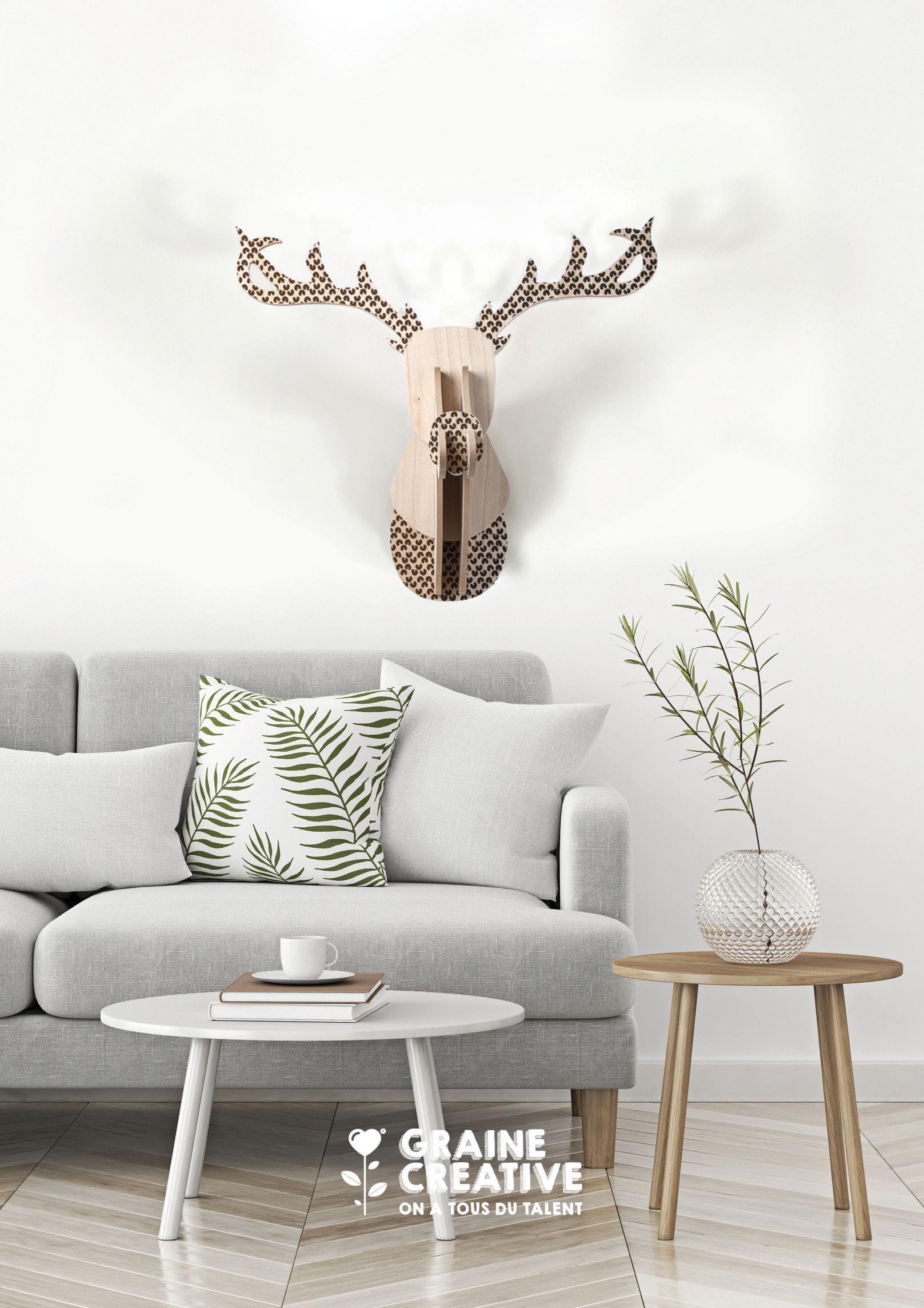 Trophée Renne en bois à décorer Décoration de Noël par Graine Créative !  DIY fait,