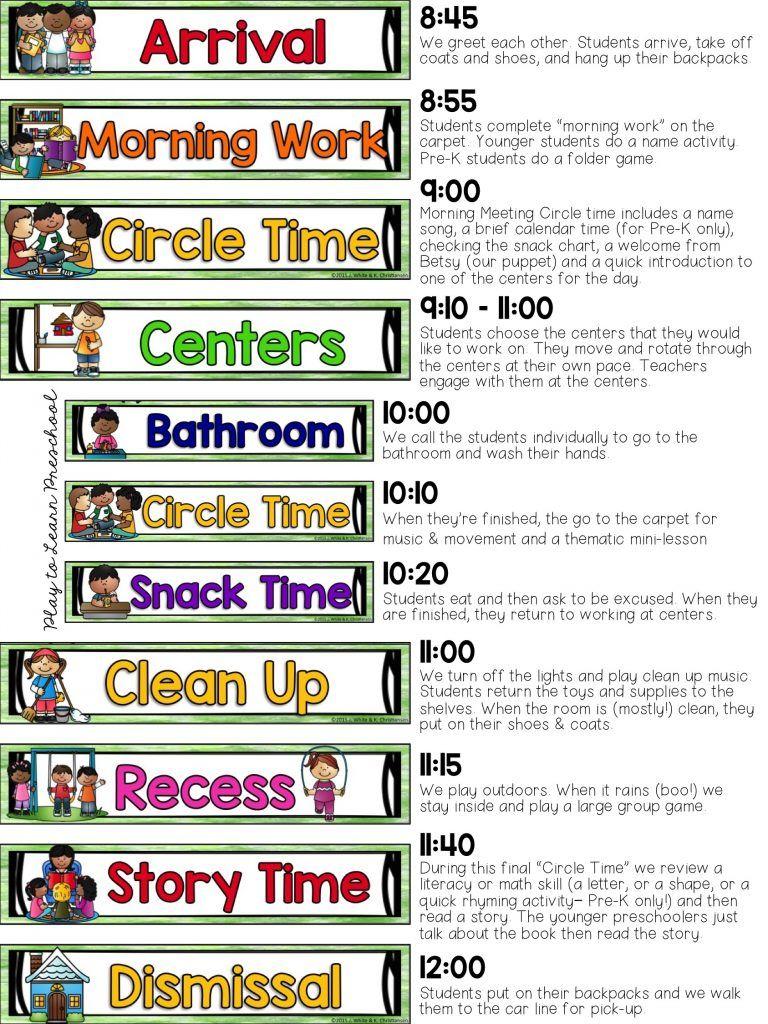 Our Half Day Preschool Schedule Preschool schedule