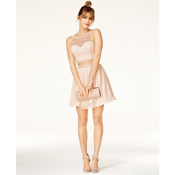 Sequin Hearts Juniors\' 2-Pc. Crochet Chiffon Dress ($99) ❤ liked on ...