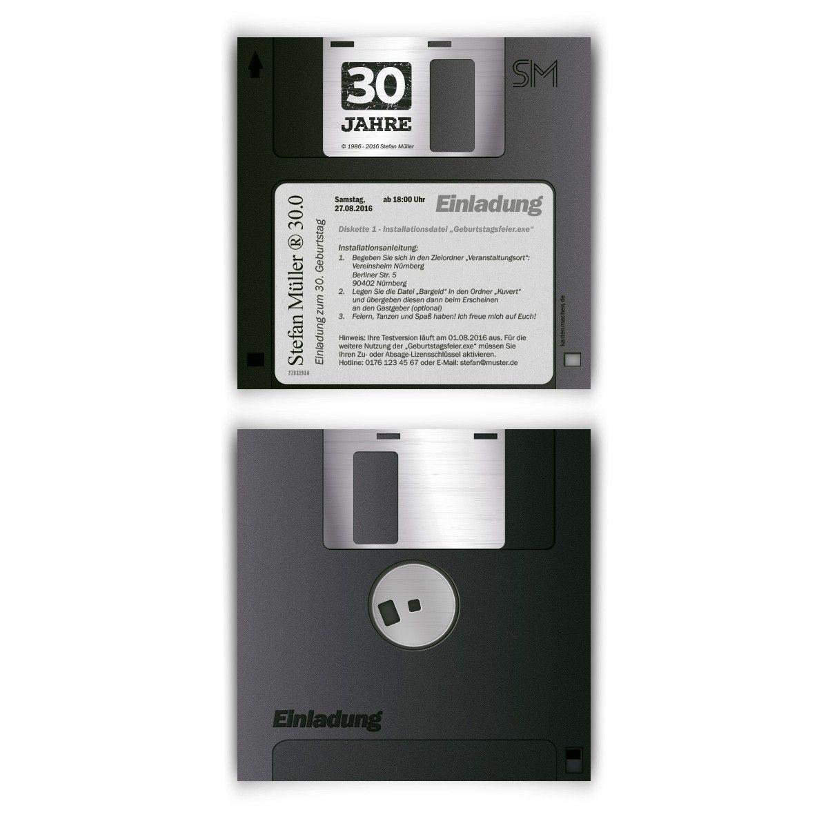 Einladungskarten als Diskette #geburtstag #einladung ...