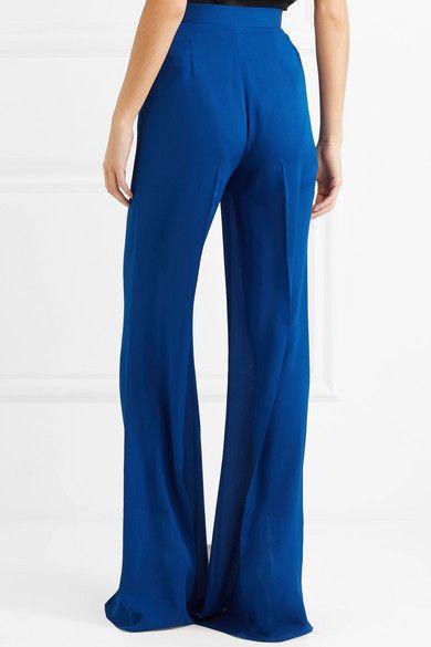 Silk Crepe De Chine Flared Pants - Blue Elie Saab H40E1QtYk
