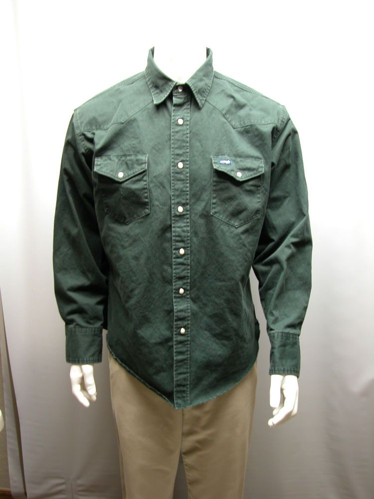 773a4f06 Wrangler Mens XL Western Cowboy Pearl Snap Plaid Shirt Dark Green Thick  Cotton #Wrangler #Cowboy