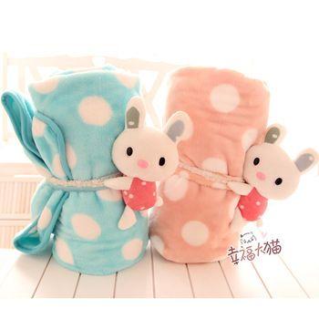 Hot Sale 150cm Soft Cartoon Cute Sweet Rabbit Sleep Coral Fleece Air Conditioning Folded Baby Blanket