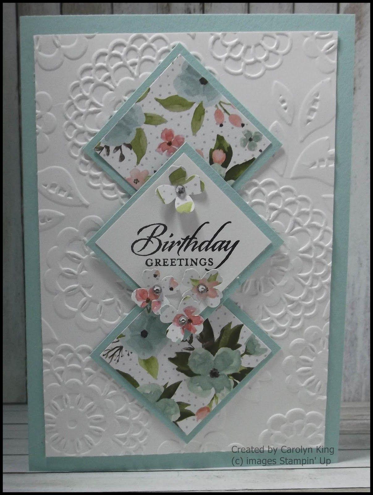 Carolyn King Card Craft Handmade Birthday Cards Embossed Cards
